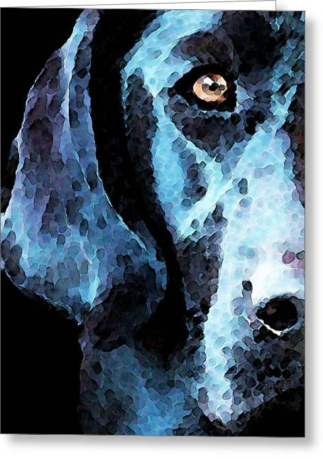 Labrador Retrievers Greeting Cards - Black Labrador Retriever Dog Art - Hunter Greeting Card by Sharon Cummings