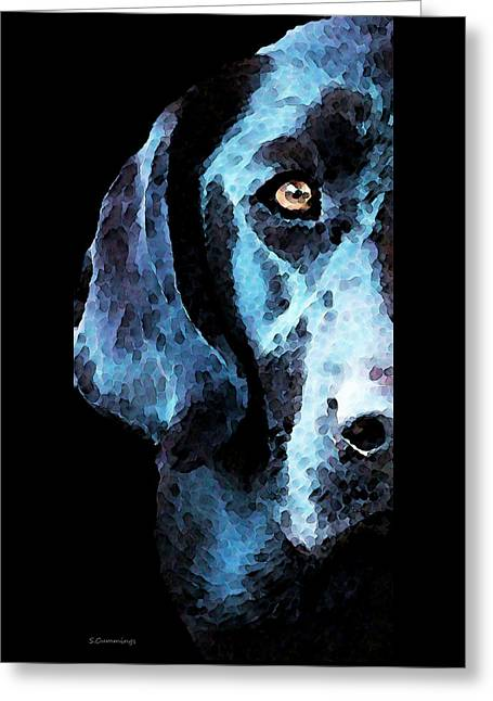 Labrador Greeting Cards - Black Labrador Retriever Dog Art - Hunter Greeting Card by Sharon Cummings