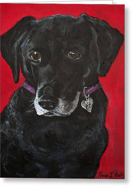 Mixed Labrador Retriever Paintings Greeting Cards - Miss Priss the Black Labrador Retriever Mix Greeting Card by Karen Dortschy