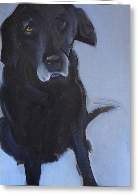 Black Lab Puppy Greeting Cards - Black labrador Greeting Card by Sally Muir