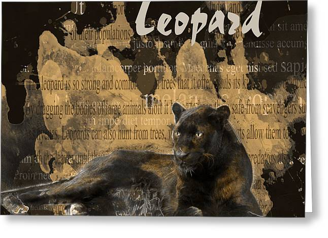 Black Leopard Greeting Cards - Black Leopard Greeting Card by Methune Hively