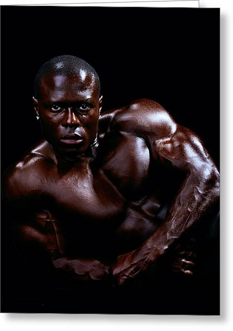Black Man Greeting Cards - Black Male Fitness Model Greeting Card by Val Black Russian Tourchin
