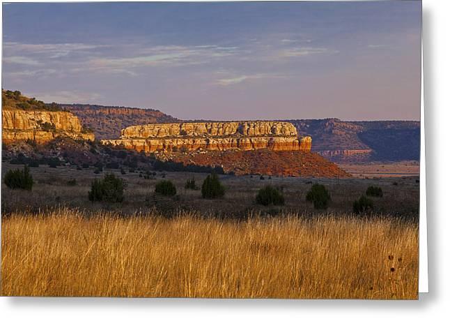 Charles Warren Greeting Cards - Black Mesa Sunrise Greeting Card by Charles Warren