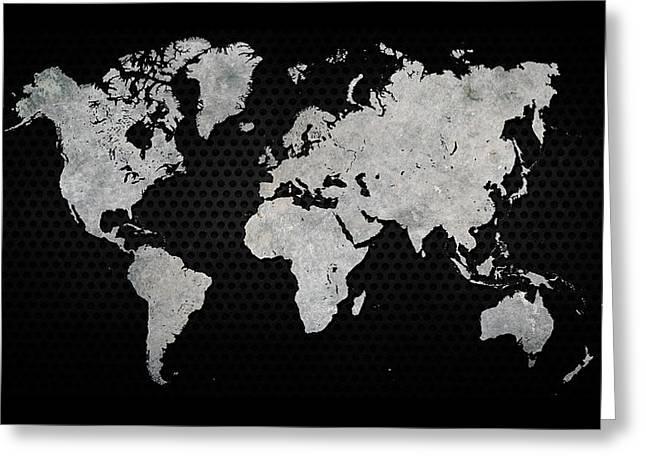 Black Metal Industrial World Map Greeting Card by Douglas Pittman
