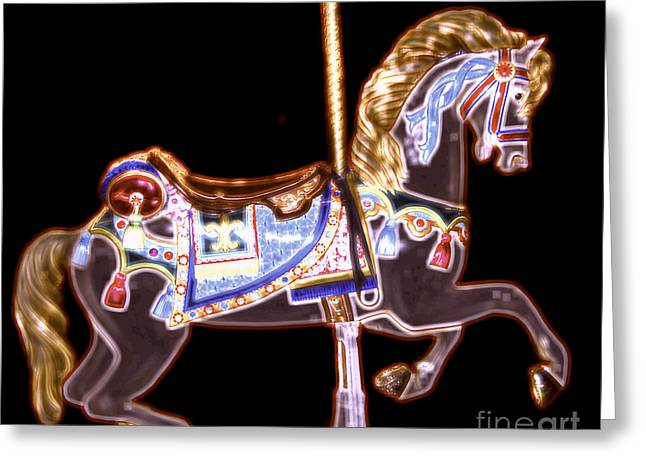 Black Neon Carousel Horse Greeting Card by Patty Vicknair
