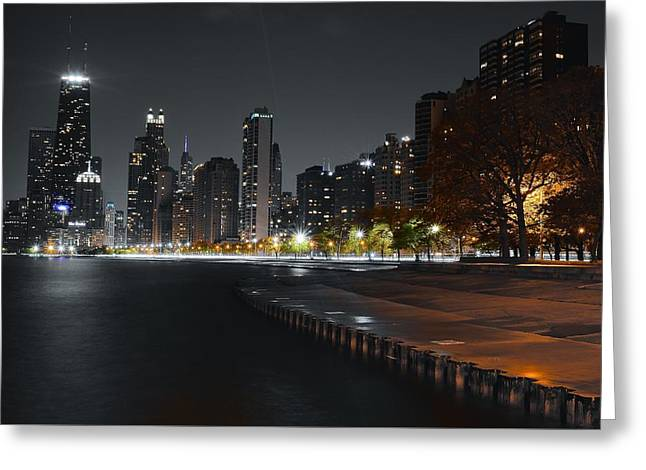 Light And Dark Greeting Cards - Black Night in Chicago Greeting Card by Frozen in Time Fine Art Photography