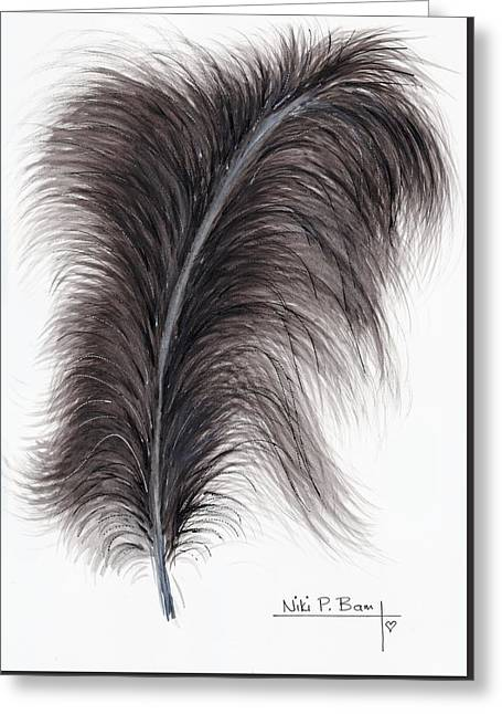 Black Ostrich Feather Greeting Card by Niki P Bam