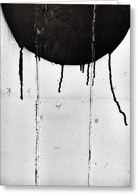 Black Paint Marks Greeting Card by Tom Gowanlock