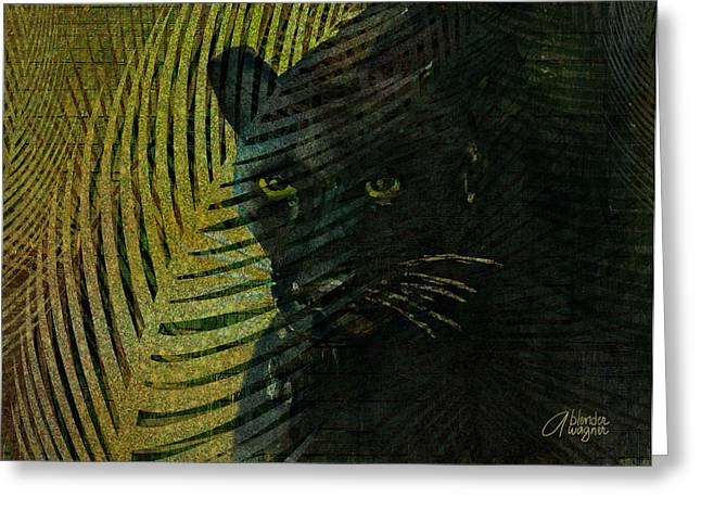 Black Panther Greeting Card by Arline Wagner