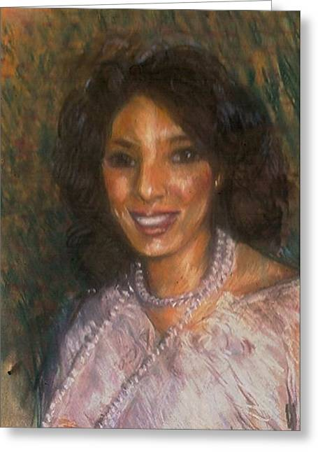 African-american Pastels Greeting Cards - Black Pearl Greeting Card by John Robinson