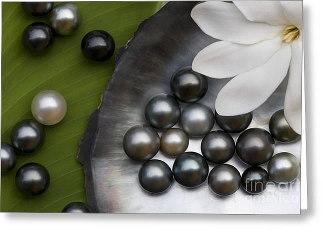 Black Pearls Greeting Cards - Black Pearls And Tiare Flower Greeting Card by Jean-Louis Klein & Marie-Luce Hubert