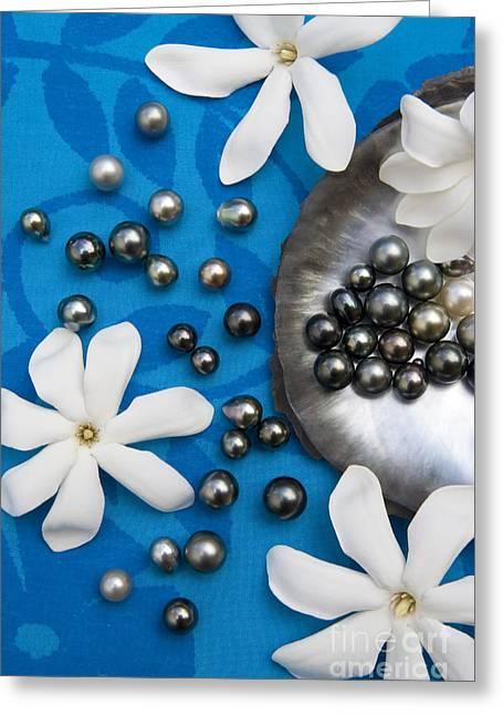 Black Pearls Greeting Cards - Black Pearls And Tiare Flowers Greeting Card by Jean-Louis Klein & Marie-Luce Hubert
