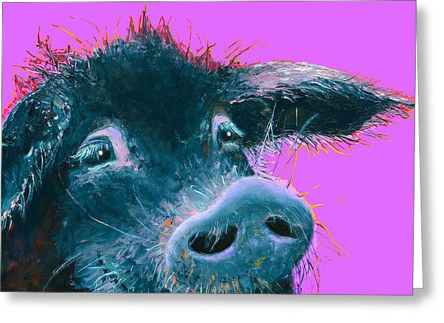 Piglets Greeting Cards - Black Pig Painting on purple Greeting Card by Jan Matson