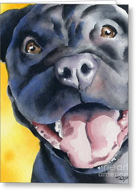 Framed Pit Bull Print Greeting Cards - Black Pit Bull Terrier Greeting Card by David Rogers