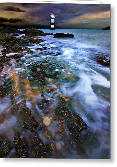 Navigation Greeting Cards - Black Point Light Greeting Card by Meirion Matthias