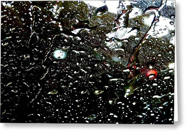 Abstract Digital Digital Art Greeting Cards - Black Rain Greeting Card by Jacqueline Howe