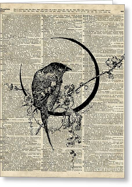 Dictionary Greeting Cards - Black Raven Bird Greeting Card by Jacob Kuch