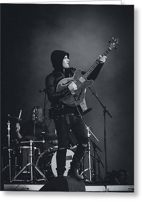 Live Music Greeting Cards - Black Rebel Motorcycle Club Playing Live Greeting Card by Marco Oliveira