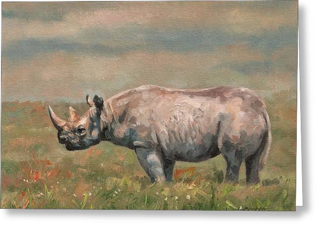 Rhinos Greeting Cards - Black Rhino Greeting Card by David Stribbling