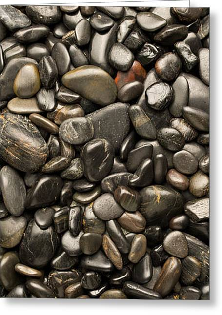 Pebbles Greeting Cards - Black River Stones Portrait Greeting Card by Steve Gadomski