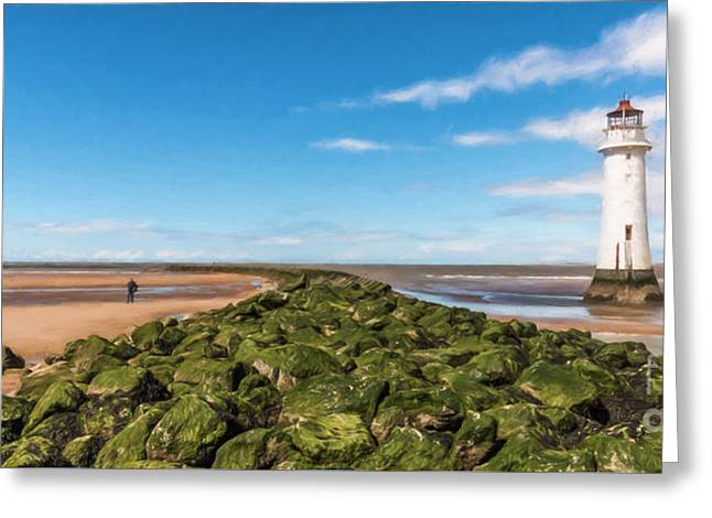 Black Rock Lighthouse Greeting Card by Adrian Evans