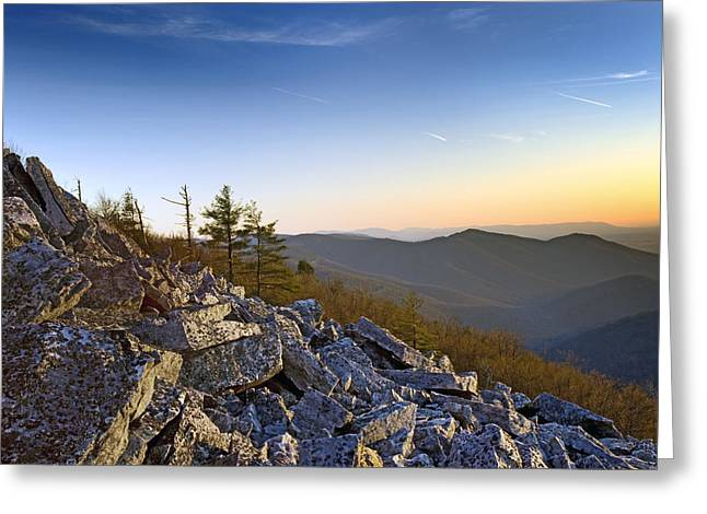 Black Rocks Summit In Shenandoah National Park Virginia At Sunset Greeting Card by Brendan Reals