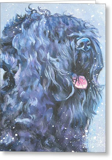 Black Russian Greeting Cards - Black russian Terrier in snow Greeting Card by L A Shepard