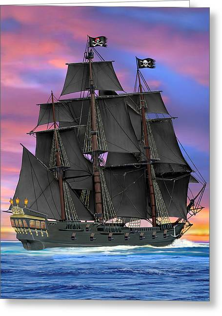 Sailing Ship Greeting Cards - Black Sails of the Caribbean Greeting Card by Glenn Holbrook