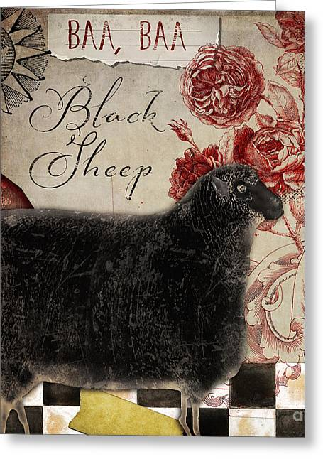 Black Sheep Nursery Rhyme Mother Goose Greeting Card by Mindy Sommers