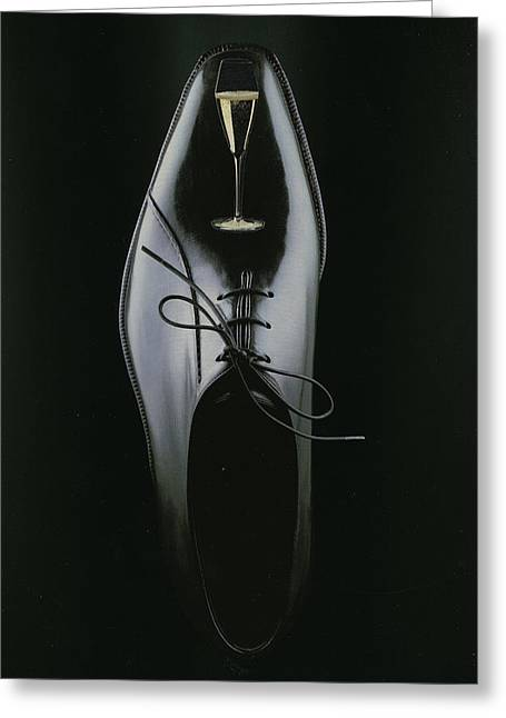 Formal Mixed Media Greeting Cards - Black Shoe Greeting Card by Francine Gourguechon