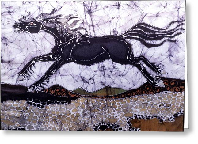Equine Tapestries - Textiles Greeting Cards - Black Stallion Gallops Over Stones Greeting Card by Carol  Law Conklin