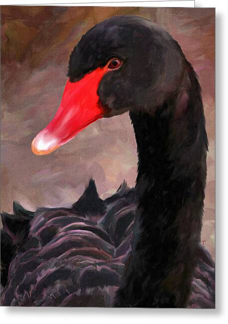 Black Swans Greeting Cards - Black Swan Greeting Card by Jai Johnson