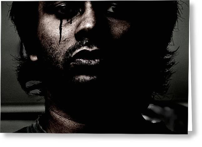 Self-portrait Photographs Greeting Cards - Black Tears Greeting Card by Venura Herath