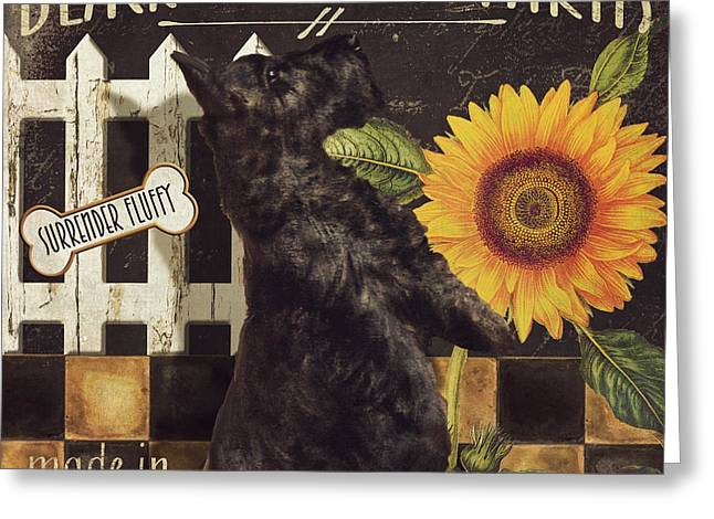 Black Dogs Greeting Cards - Black Terrier Farms Greeting Card by Mindy Sommers