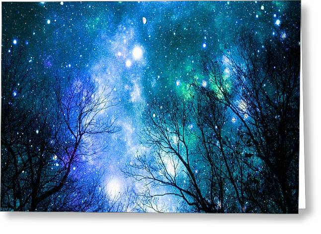 Intergalactic Space Greeting Cards - Black Trees Blue Space Greeting Card by Johari Smith
