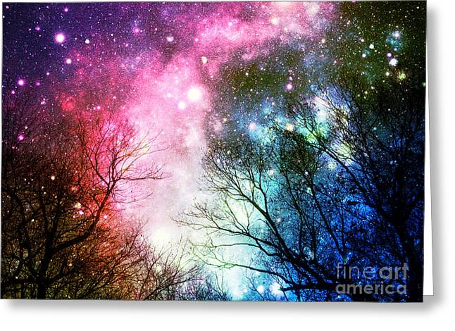 Constellations Greeting Cards - Black Trees Colorful Space Greeting Card by Johari Smith