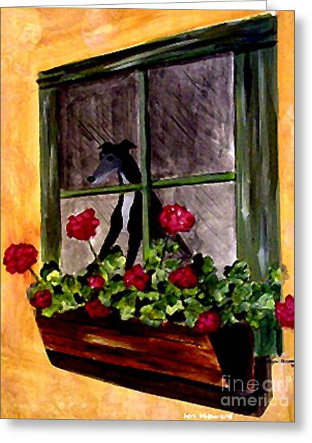 Greyhound Dog Greeting Cards - Black Tux Window Greeting Card by Jennifer Howard