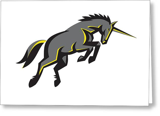 Black Unicorn Horse Charging Isolated Retro Greeting Card by Aloysius Patrimonio