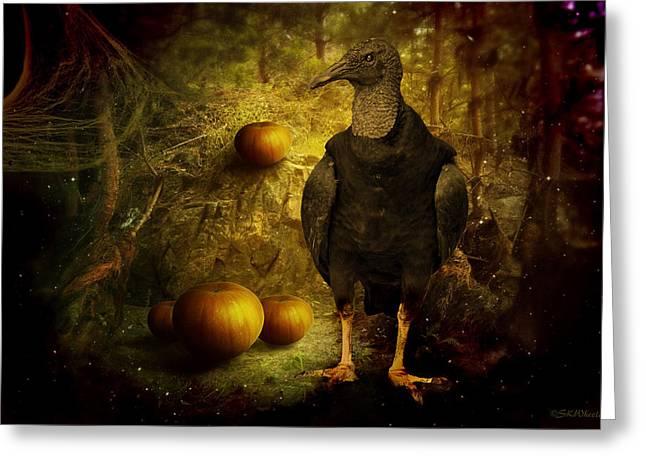 Shower Head Greeting Cards - Black Vulture Sentry Greeting Card by Sabrina K Wheeler