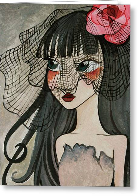 Black Widow Paintings Greeting Cards - Black Widow Greeting Card by Dania Piotti