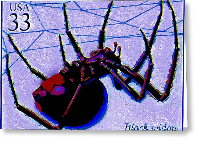 Black Widow Paintings Greeting Cards - Black Widow Spider Greeting Card by Lanjee Chee
