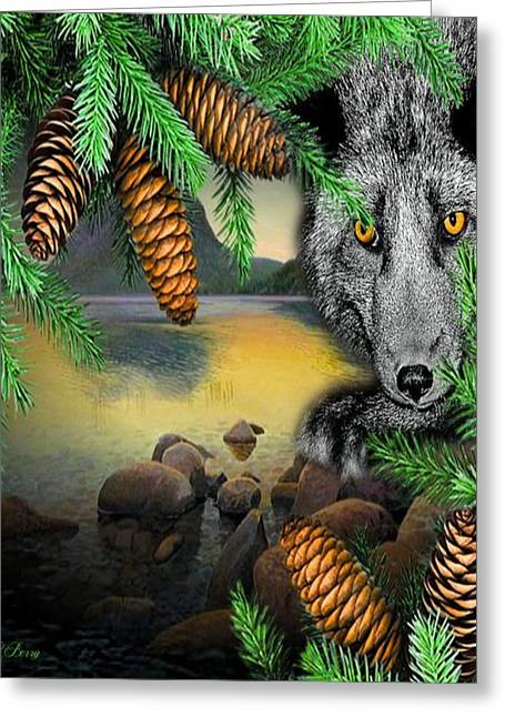 Fantasy Tree Greeting Cards - Black Wolf Greeting Card by G Berry