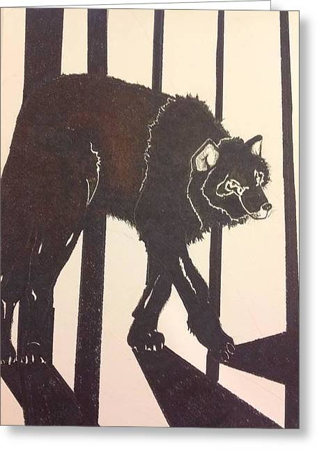 Pen Greeting Cards - Black Wolf Greeting Card by Robert Hilger