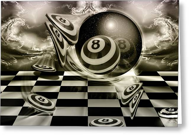 8ball Greeting Cards - BlackandWhiteBall Greeting Card by Draw Shots