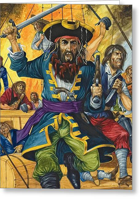 """sailing Ship"" Greeting Cards - Blackbeard Greeting Card by Richard Hook"