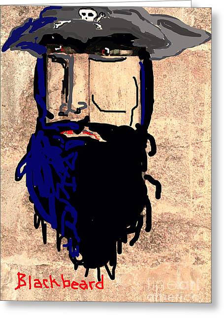 Buccaneer Greeting Cards - Blackbeard The Pirate Greeting Card by Joe Jake Pratt