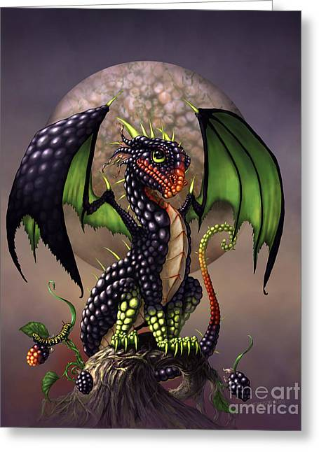 Blackberry Dragon Greeting Card by Stanley Morrison