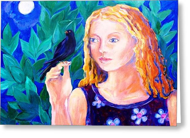 Blackbird Singing In The Dead Of Night  Greeting Card by Trudi Doyle