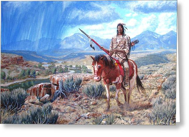 The Horse Greeting Cards - Blackfoot Warrior Greeting Card by Scott Robertson