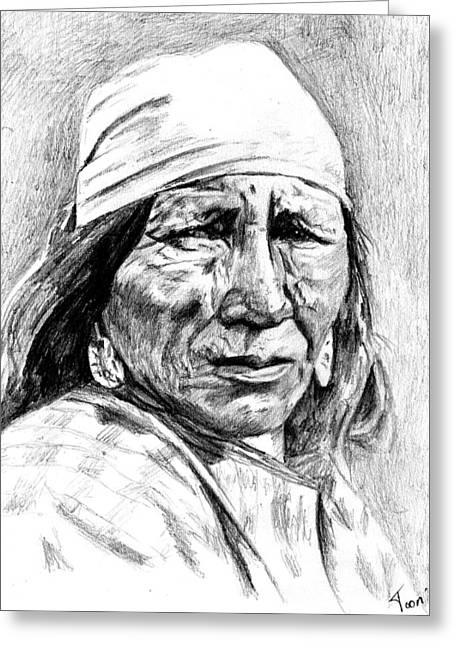 Blackfoot Woman Greeting Card by Toon De Zwart